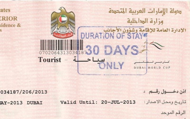 A copy of dubai visa