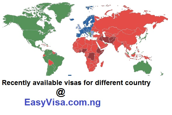 Recently available visas for different countries